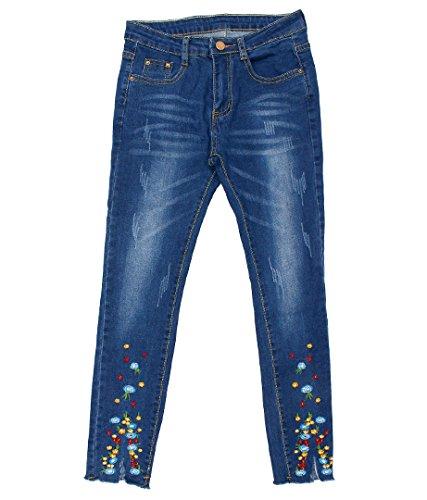 anap mimpi 裾フラワー刺繍ストレッチデニム ブルー S