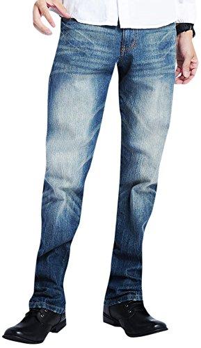 ブルー L (ベストマート)BestMart バックジップ デニム スリム ストレート 大きいサイズ 4L 5L 6L 7L ストレッチ メンズ ジップポケット ジーンズ ジーパン Gパン ジーパン ワイド ワイドデニム パンツ LL XXL XXXL XXXXL 2L 3L 605565-006-617
