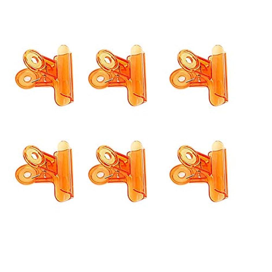 反逆者楽しいスリーブCUHAWUDBA 6個/セット Cカーブネイルピンチクリップ 多機能ツール アクリルネイルピンチャー ペンチオレンジ