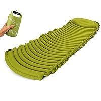 Leve軽量コンパクトAir Sleeping Pad with標準枕組み込みキャンプパッド75インチエアマットレス グリーン 43220-62237
