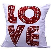 プリントLove Signレッドホワイト休日装飾投げクッションカバーアクセント枕ケースInvisible Zipperマルチカラー100 %コットン