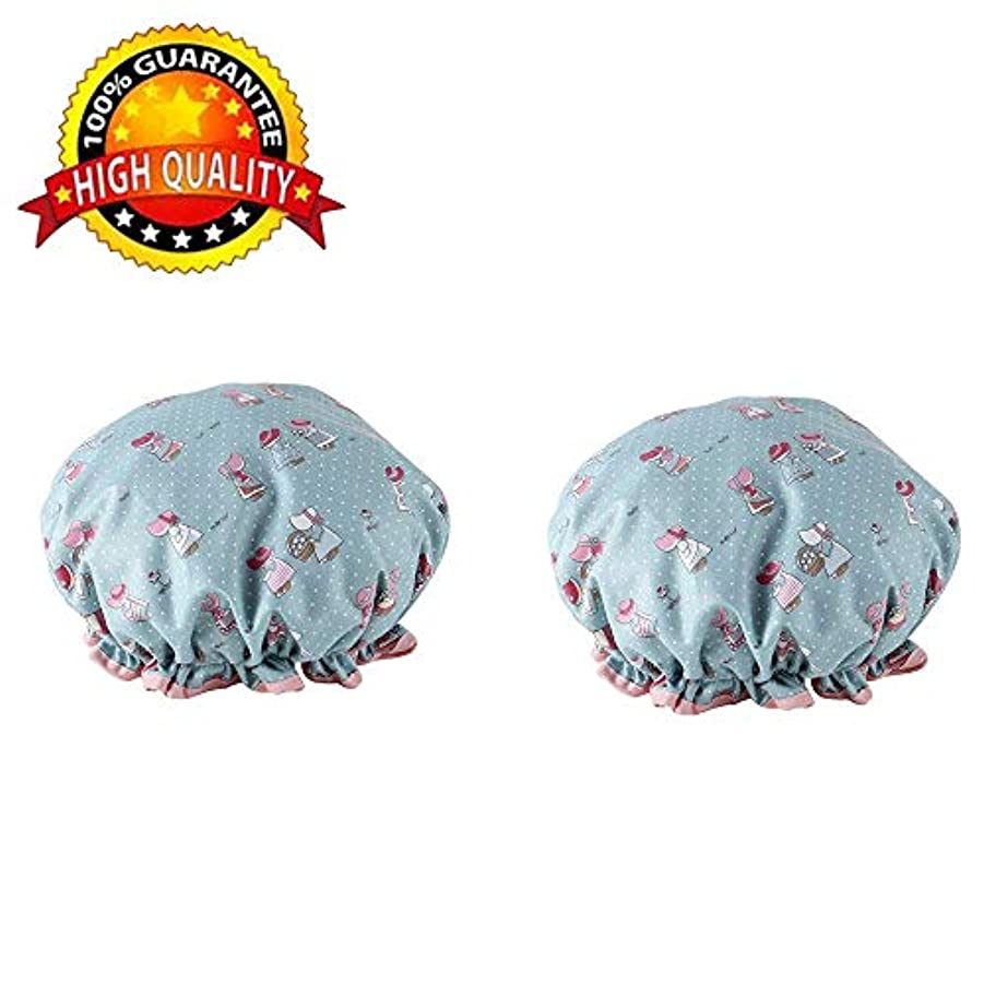 傾向がある収束義務づけるDEWUFAFA 2Pack シャワーキャップダブルレイヤーバースキャップ防水ゴムバンドバスキャップお風呂髪キャップキッチンキャップ (Color : A)