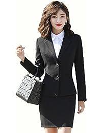 SHUNYI レディース セットスーツ オフィス 就活 ビジネス パンツスーツ スカートスーツ セットアップ 無地 フォーマル テーラードジャケット 二点セット