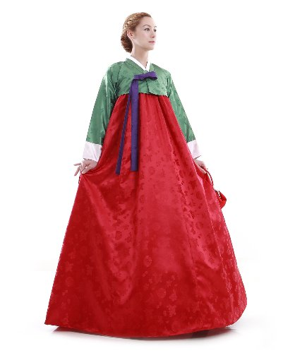 韓国の民族衣装 チマチョゴリ 緑X赤 オーダーメイド