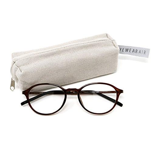アイウェアエア 軽量しなやかフレーム スマホ老眼鏡 ブルーライトカット ケース付き +0.5~+3.5 4色 ボストン ショコラブラウン +2.50