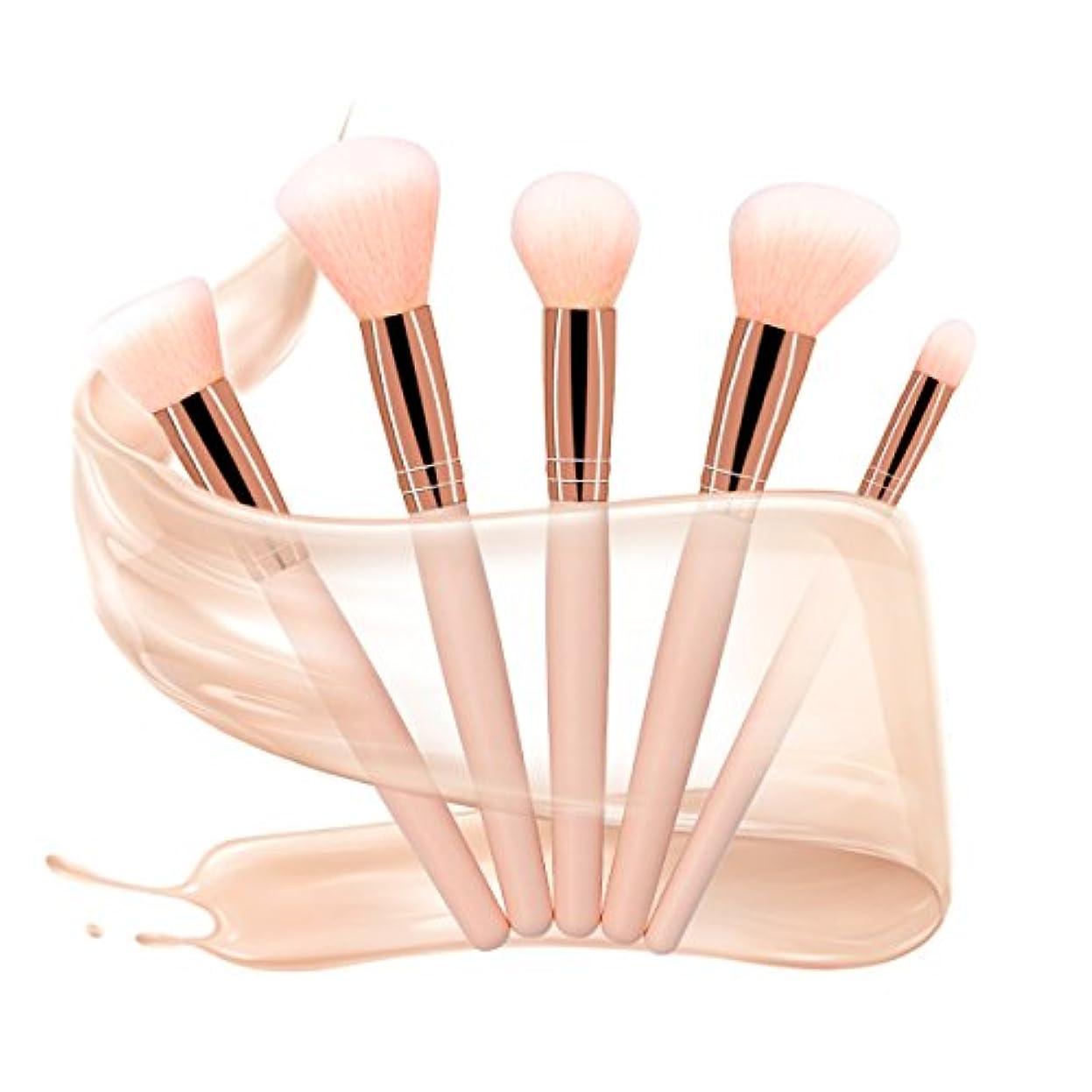 幻想的安価な巨大X-go 化粧筆 高級天然毛 5本セット 化粧 ブラシ 肌触りがふんわり 敏感肌適用 メイクブラシ (ピンク)