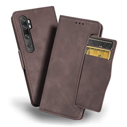 Mi Note 10手帳型ケース iHOY Xiaomi Mi Note 10ケース カードスロット付き 高級 PU 折り畳み式レザースタンド機能 Xiaomi Mi Note 10カードホルダー付き Xiaomi Mi Note 10 ケース 保護カバー(ブラウン)