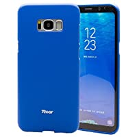 Galaxy S8 Plus case Roar Colorful Jelly [Matte Texture][Smooth Touch][Non Slip] Snug-fit Rubber Silicone Gel TPU Full Body Soft Case Cover - For Galaxy S8 Plus (2017) Navy Blue [並行輸入品]