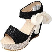 Gaorui Women's Lace Shoe Hollow Sandals Peep Toe Bowknot High Heel Platform Wedge Pump