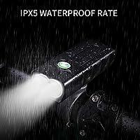 Tienpy 自転車ライトIPX5防水 広角照射 自転車ヘッドライト取り付け簡単 3段階点灯モード 高輝度 LEDヘッドライト自転車前照灯 USB充電式 スポーツ、アウトドア 、サイクリング 用 ライト (黒)