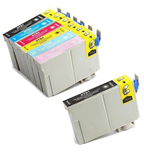 Aria Supllies T078 78 78 インクカートリッジ 交換用 7パック Artisan 50 Stylus Photo R260 R280 R380 RX580 RX595 RX680プリンター用
