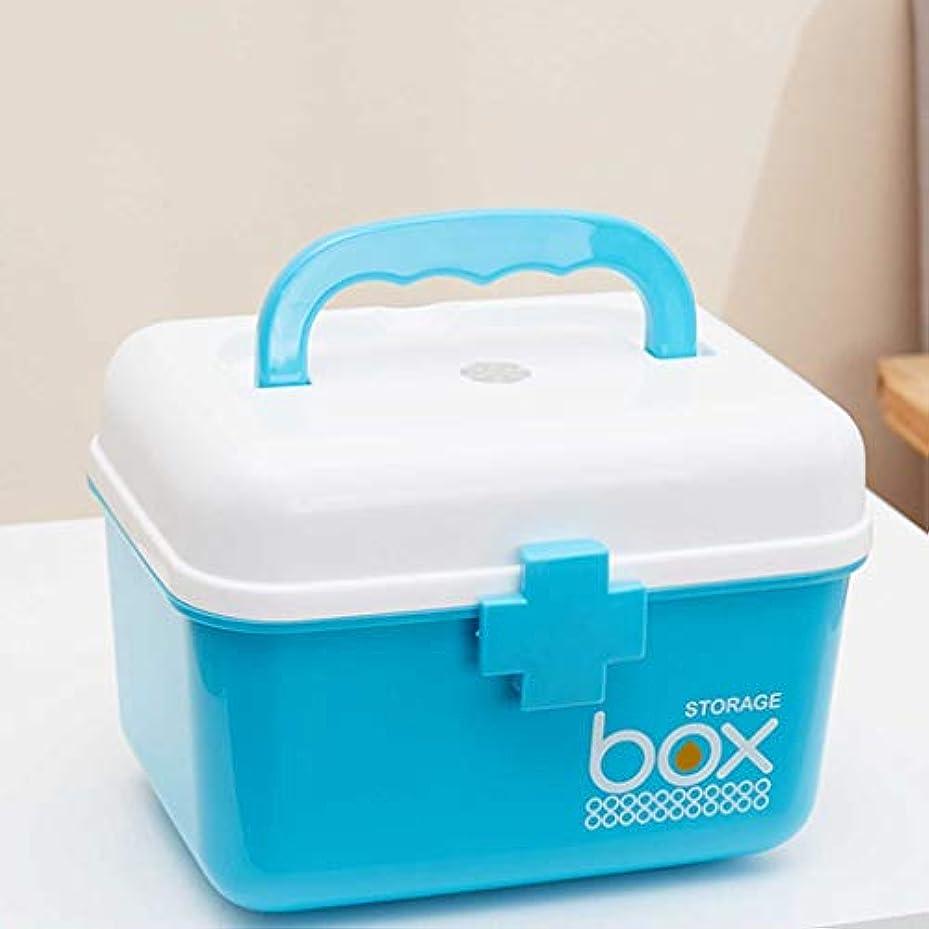 絶対の衰えるぎこちないWXYXG 家庭用薬箱多層大型携帯用薬箱プラスチック薬品収納箱ファミリー子供小型医療箱救急箱 (Color : Blue, Size : 21cm×15.5cm×16cm)