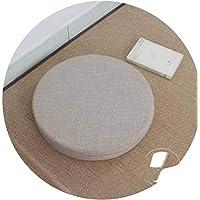 座布団 和風 ふとんクッション 修理座肥厚円フロア畳クッション,白, H6cm