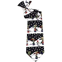 "Boy's Black Christmas Winter Santa's Reindeer 14"" Pre-Tied Clip On Tie Necktie"