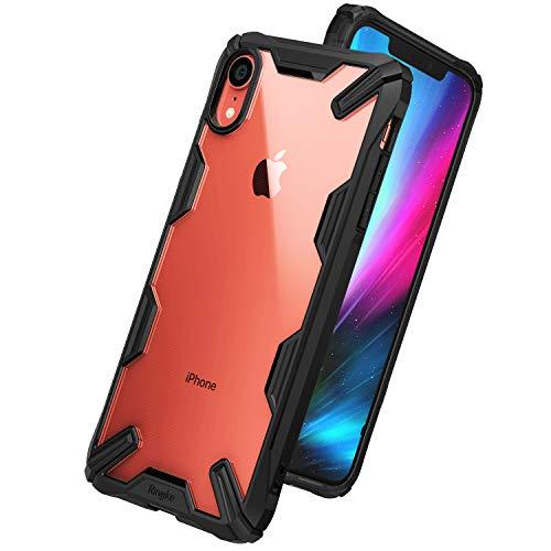 【Ringke】iPhone XR ケース 対応 コスパ最高 ストラップホール 落下衝撃吸収 [軍用規格落下試験済み] TPU PC 2重構造 スマホケース 吸収耐衝撃カバー 背面クリア Qi ワイヤレス充電対応 Fusion-X (Black/ブラック)