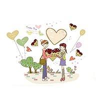 DealMux少年少女の愛のパターンリムーバブルウォールステッカールームステッカー壁紙