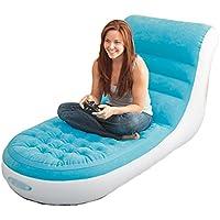 ベッド、怠惰なソファ現代的なシンプルなベッドルームインフレータブルバルコニーリクライニング (色 : 青)