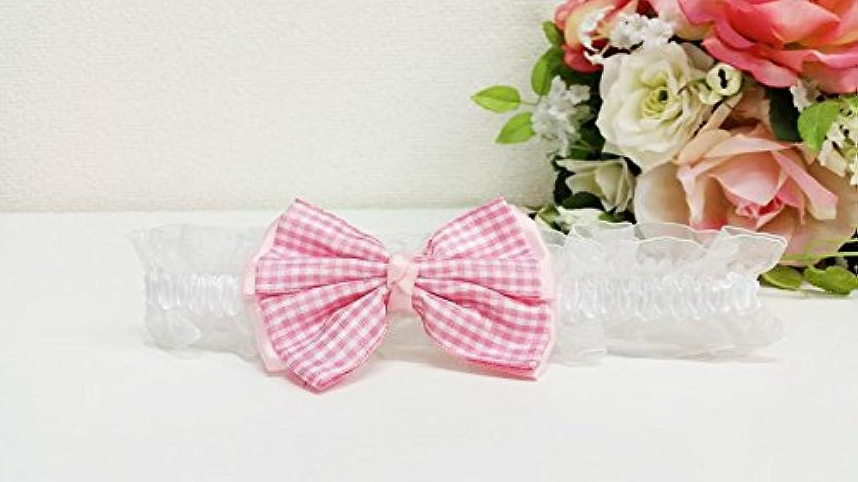 赤ちゃん ベビー ヘアバンド 髪飾り/リボン/チェック/ピンク