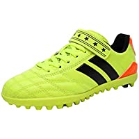 Aiweijia Unisex Kids' Outdoor/Indoor Flat Rubber Sole Solid Color Soccer Shoes