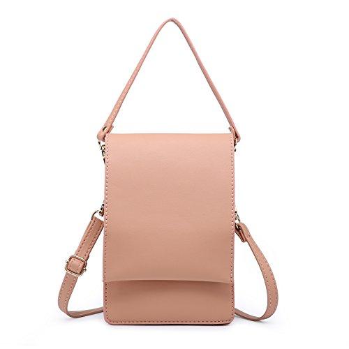 小さなショルダーバッグ、携帯も入れる女性クロスボディパースミニポーチ女性 (ホトピンク)