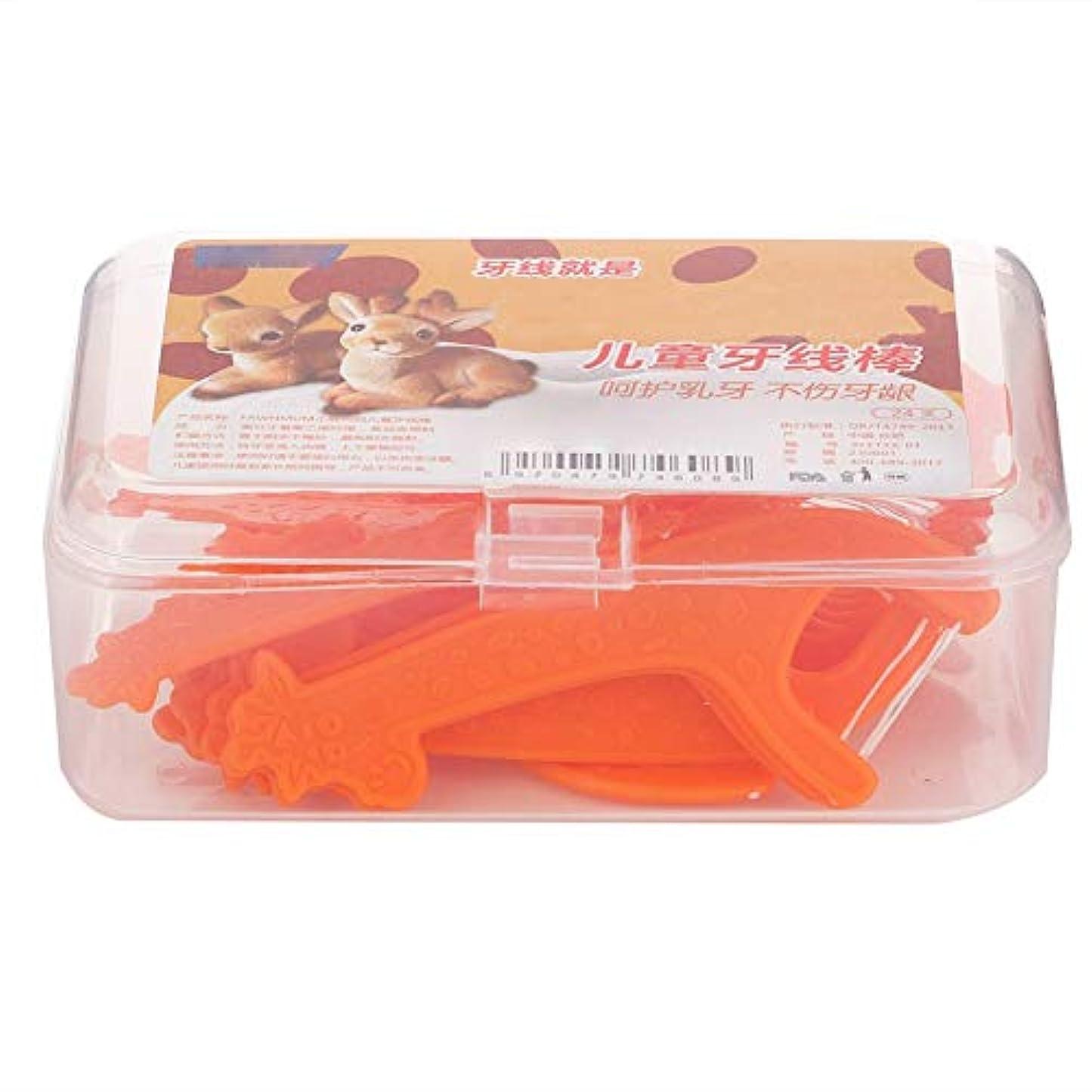 ウミウシ玉ペイントデンタルフロス、子供デンタルフロスつまようじ使い捨て歯スティック子供のための歯のクリーナー歯のケアツール(24個/箱)