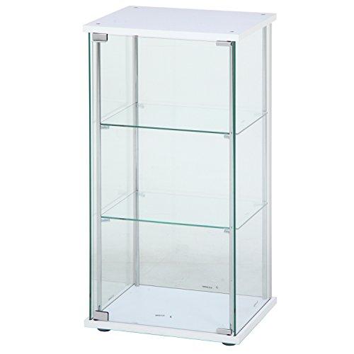 不二貿易 ガラスコレクションケース 3段 幅42.5・高さ90cm ホワイト 97300