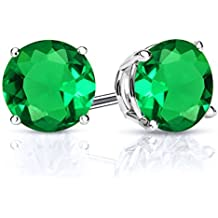 2.44 Ct Round 7mm Green Simulated Emerald 925 Sterling Silver Stud Earrings