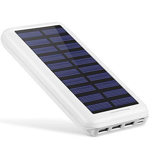 モバイルバッテリー AKEEM 22000mAh ソーラーチャージャー 超大容量 急速充電 デュアル入力ポート/3ポート