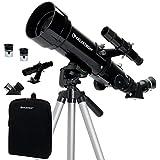 CELESTRON 21035 Celestron Travel Scope 70mm f/5.7 AZ Refractor Telescope Kit, Black