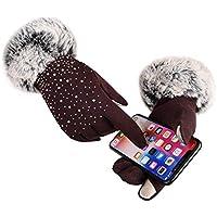 WUXiaodanDan Ladies outdoor riding non-falling gloves autumn and winter plus velvet warm gloves touch screen touch screen gloves driving gloves