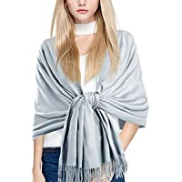 MuNiSa Women's Large Soft Pashmina Cashmere Blend Shawls Wrap Stole Scarf with Tassel (Silver Gray)