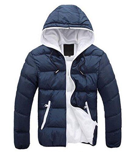 (フォセース)Fosys ダウンジャケット メンズ ダウンコート ライトダウン アウター 暖かい カジュアル スリム 防寒 軽量 秋冬 (XL, ネイビー+ホワイト)