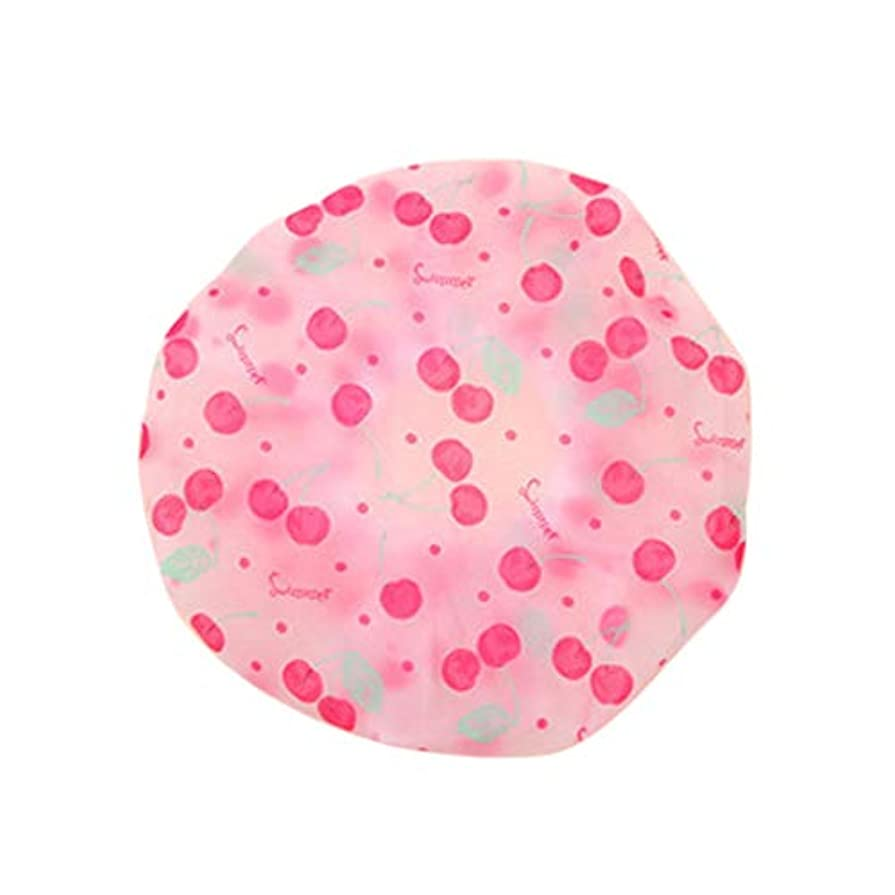 栄養まで生産性SimpleLifeシャワーキャップ、弾性防水バスキャップレディースかわいい水玉プリントプラスチック入浴ヘアキャップレディサロン帽子