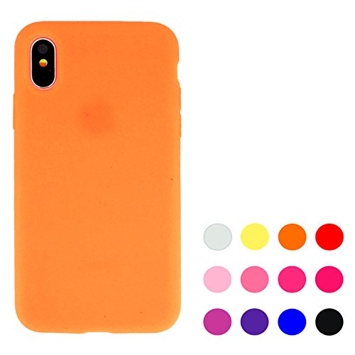 iPhone X オレンジ シリコン ケース カバー iph...