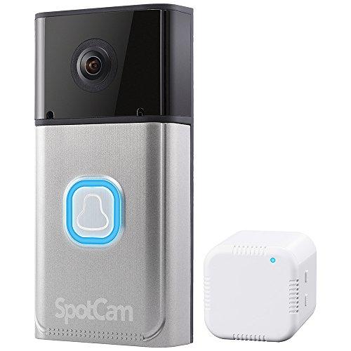 PLANEX ネットワークカメラ 民泊チェックイン対応ドアベルタイプ・フルHD 200万画素・暗視機能・双方向通話・モバイルルーター対応 SpotCam-Ring