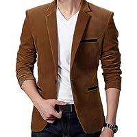 neveraway Men's One Button Relaxed Fit Slim Notch Lapel Corduroy Blazer Outwear