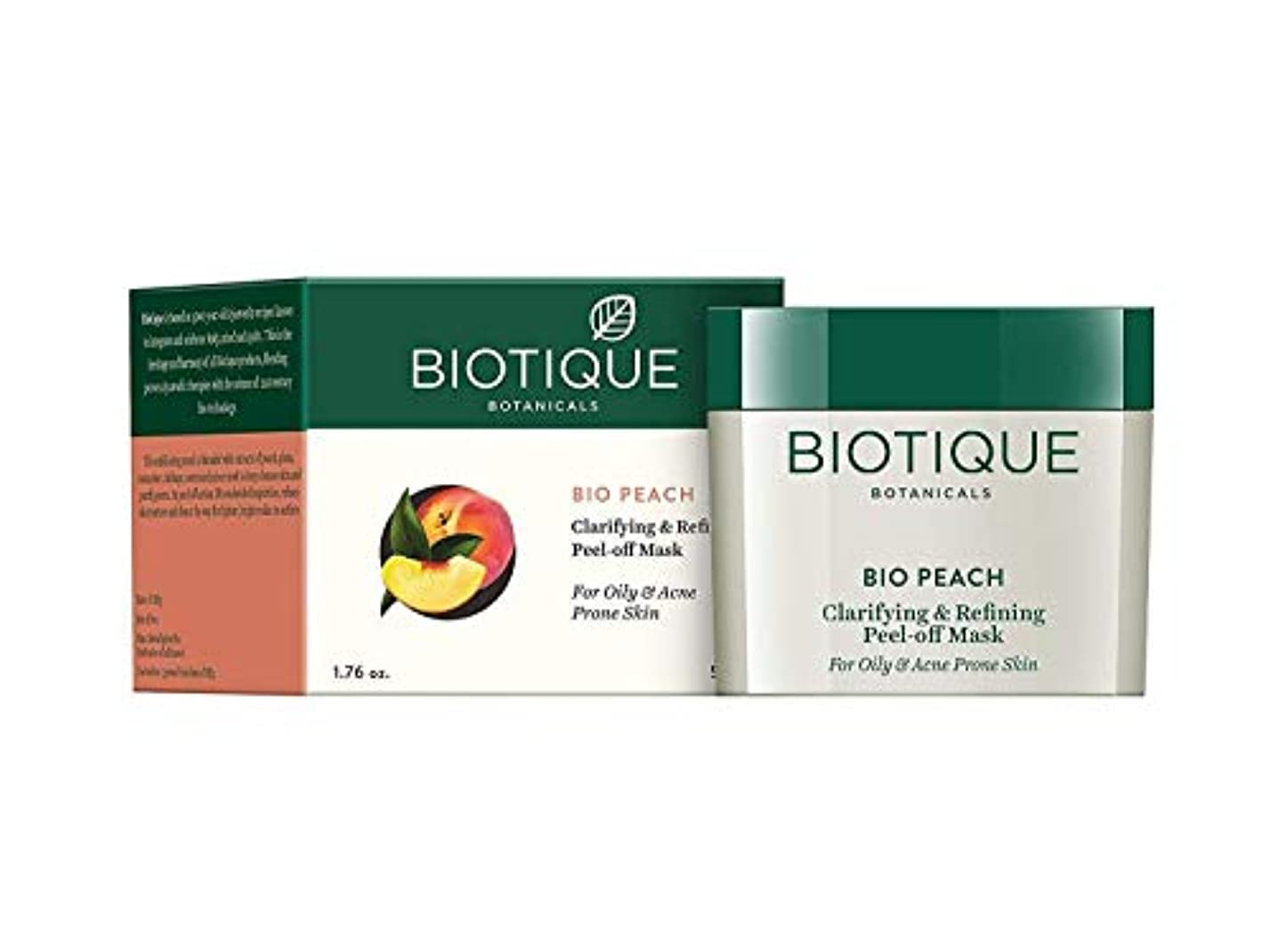 緊張セールスマンソブリケットBiotique Peach Clarifying & Refining Peel-Off Mask For Oily, Acne Prone Skin 50g 油性、にきびが発生しやすい肌のためのBiotique桃の清澄化...