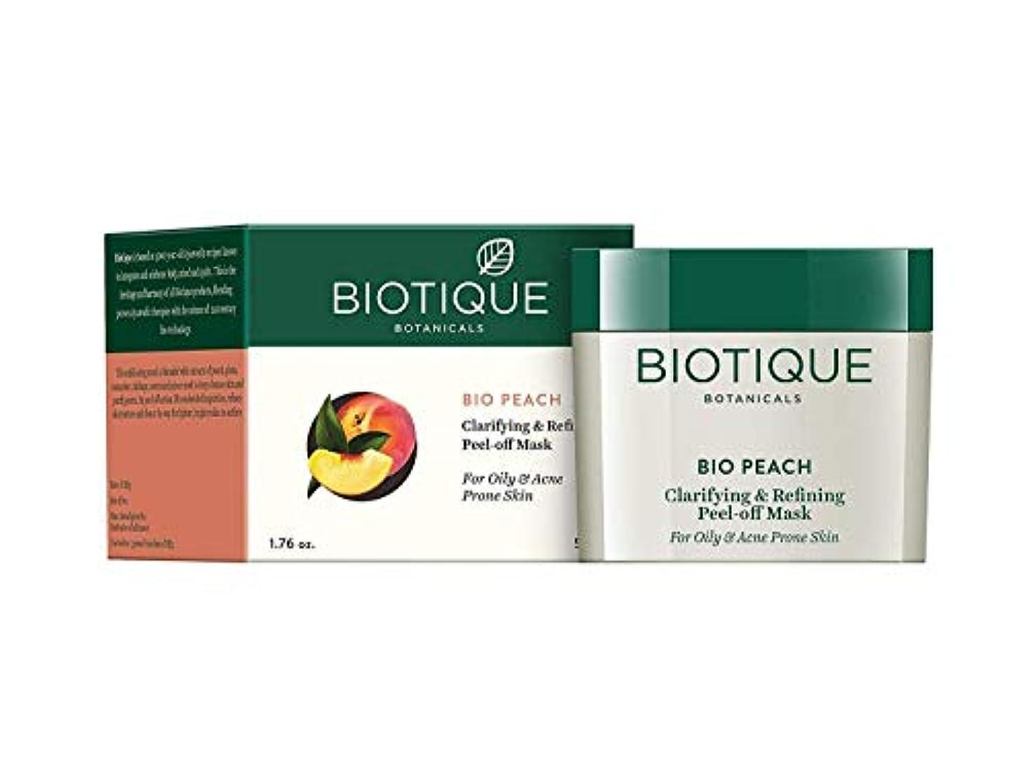 中止します伝導気性Biotique Peach Clarifying & Refining Peel-Off Mask For Oily, Acne Prone Skin 50g 油性、にきびが発生しやすい肌のためのBiotique桃の清澄化&洗練ピールオフマスク