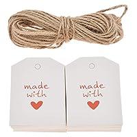 (ライチ) Lychee 100個セット メッセージカード クラフト纸 白紙 紐付き 写真道具 ハンギング パーティー 装飾