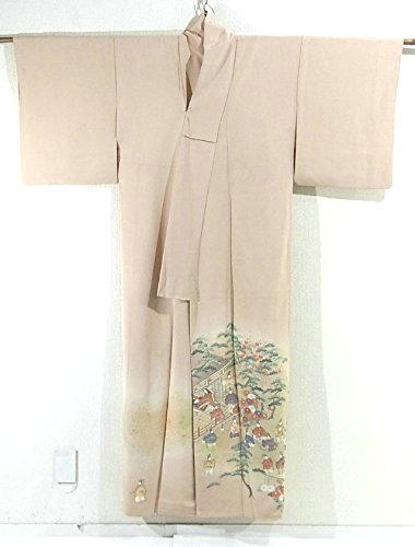 リサイクル 着物 色留袖 袷 正絹 庭で遊ぶ貴族たち 浅黄色 裄64cm 身丈158cm