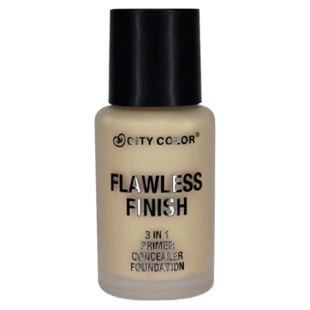 食料品店ショートカット窒息させる(6 Pack) CITY COLOR Flawless Finish 3 In 1 Primer, Concealer Foundation - Soft Beige (並行輸入品)