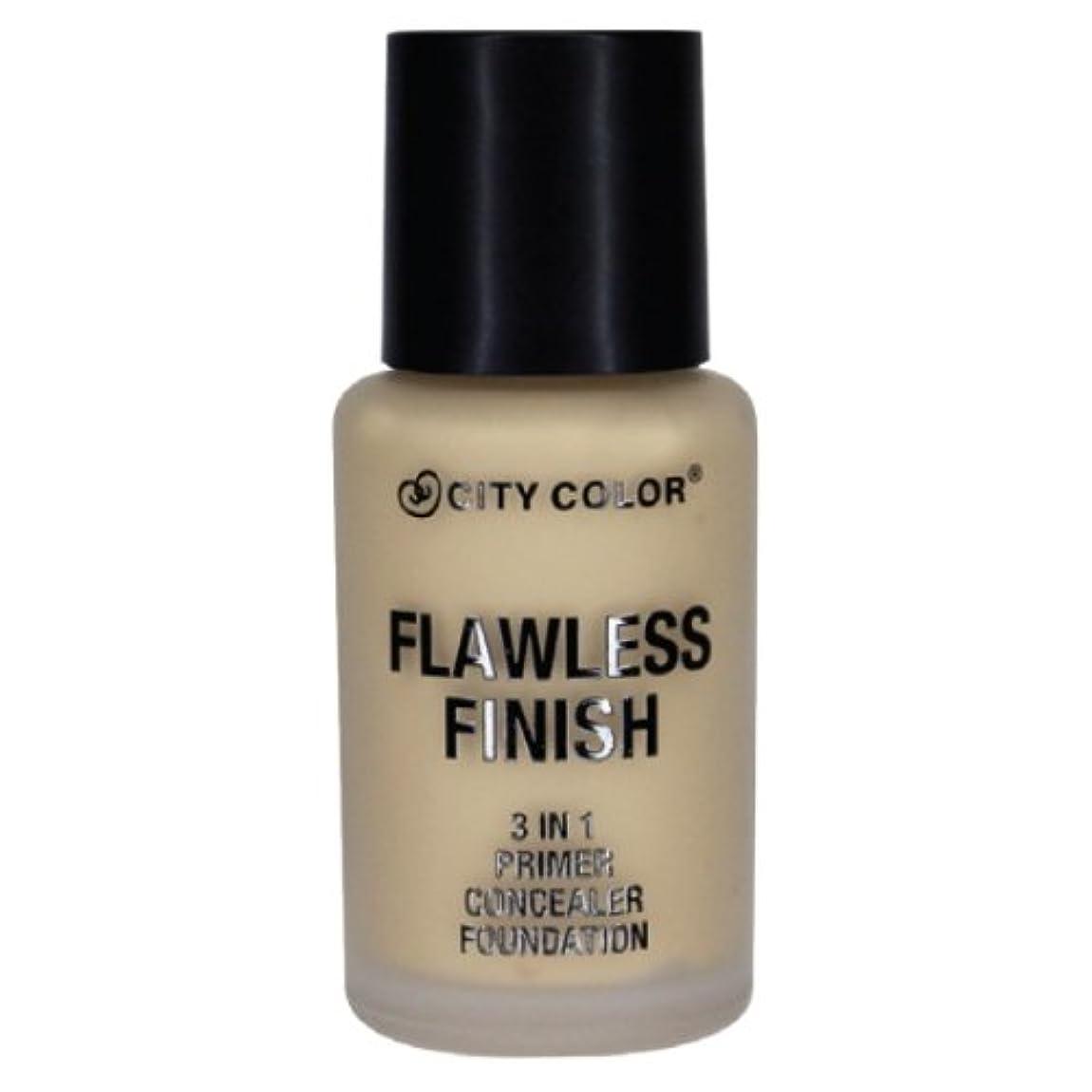 CITY COLOR Flawless Finish 3 In 1 Primer, Concealer Foundation - Soft Beige (並行輸入品)