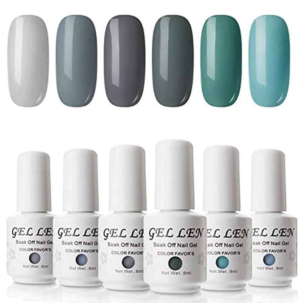 叫び声整理する彼女は【透心瓶】Gellen ジェルネイル カラーポリッシュ 6色入り 8ml UV?LED カラージェル セット ブルー&グリーン