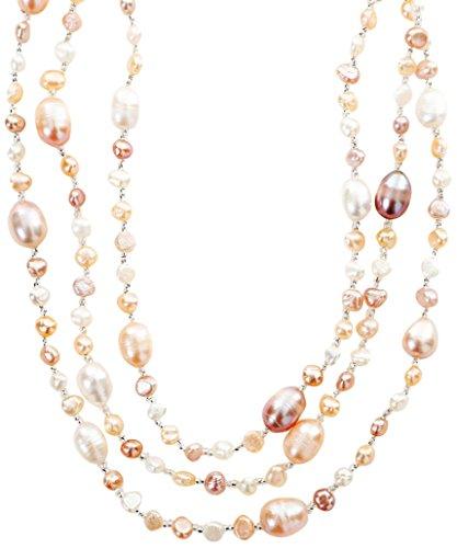 Strength そろそろ本物志向 淡水パール ネックレス (160cm, 3連 ) 淡水 真珠 首飾り パール アクセサリー レディース (マルチ 3連OK)