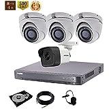 HIKVISION (ハイクビジョン) 500万画素 防犯カメラ 4台 セット   屋内用 カメラ 3台 屋外用 カメラ 1台 4チャンネル レコーダー HDD 2TB   動体検知 暗視撮影 スマホ 遠隔監視