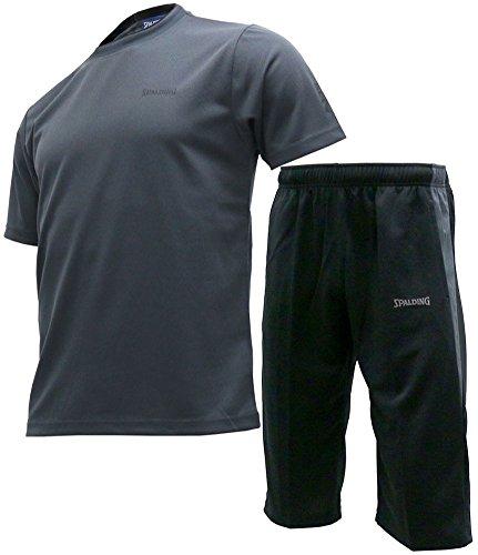 [スポルディング] トレーニングウェア 上下 セット Tシャツ ジャージ ハーフパンツ メンズ チャコール LL