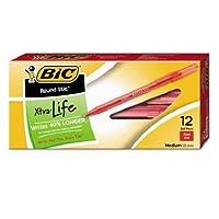 ラウンドStic Xtra Lifeボールペンペン,レッドインク, 1mm、M、ダース