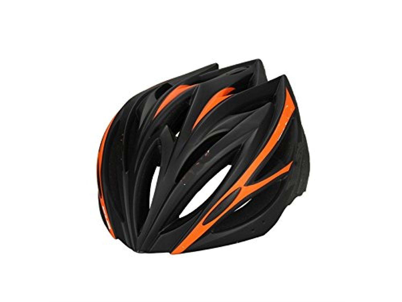 Osize メンズ女性の換気バイクヘルメット多孔質のワンピース自転車ヘルメット(ブラック+オレンジ)