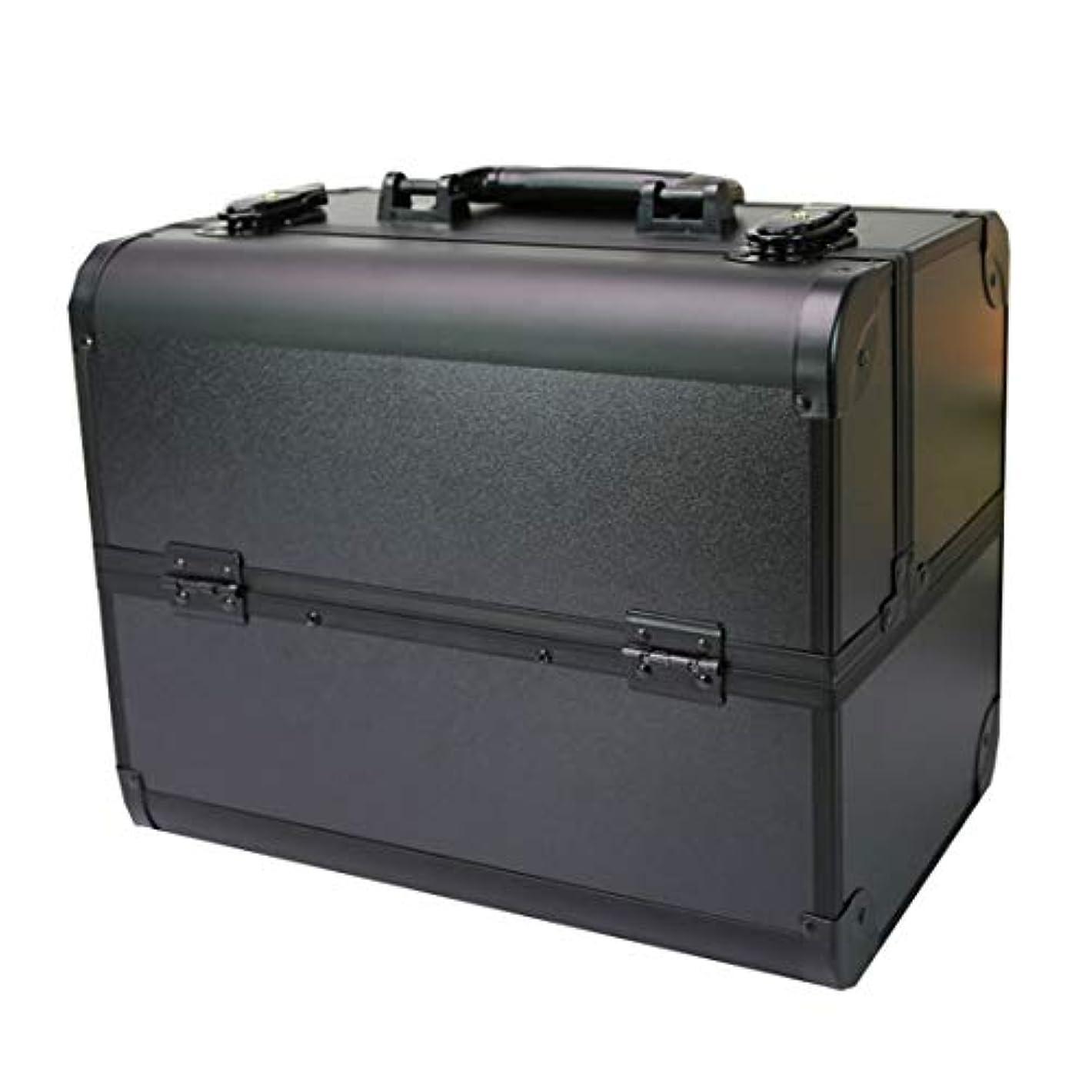 コスメボックス 大容量 プロ用 鍵 2段 四つのトレイ アルミ 化粧品収納ボックス 化粧入れ 32*21*26.5cm メイクボックス 卓上収納 旅行 メイク収納 収納力抜群 小物収納 アクセサリー ブラシスタンド ツールボックス...