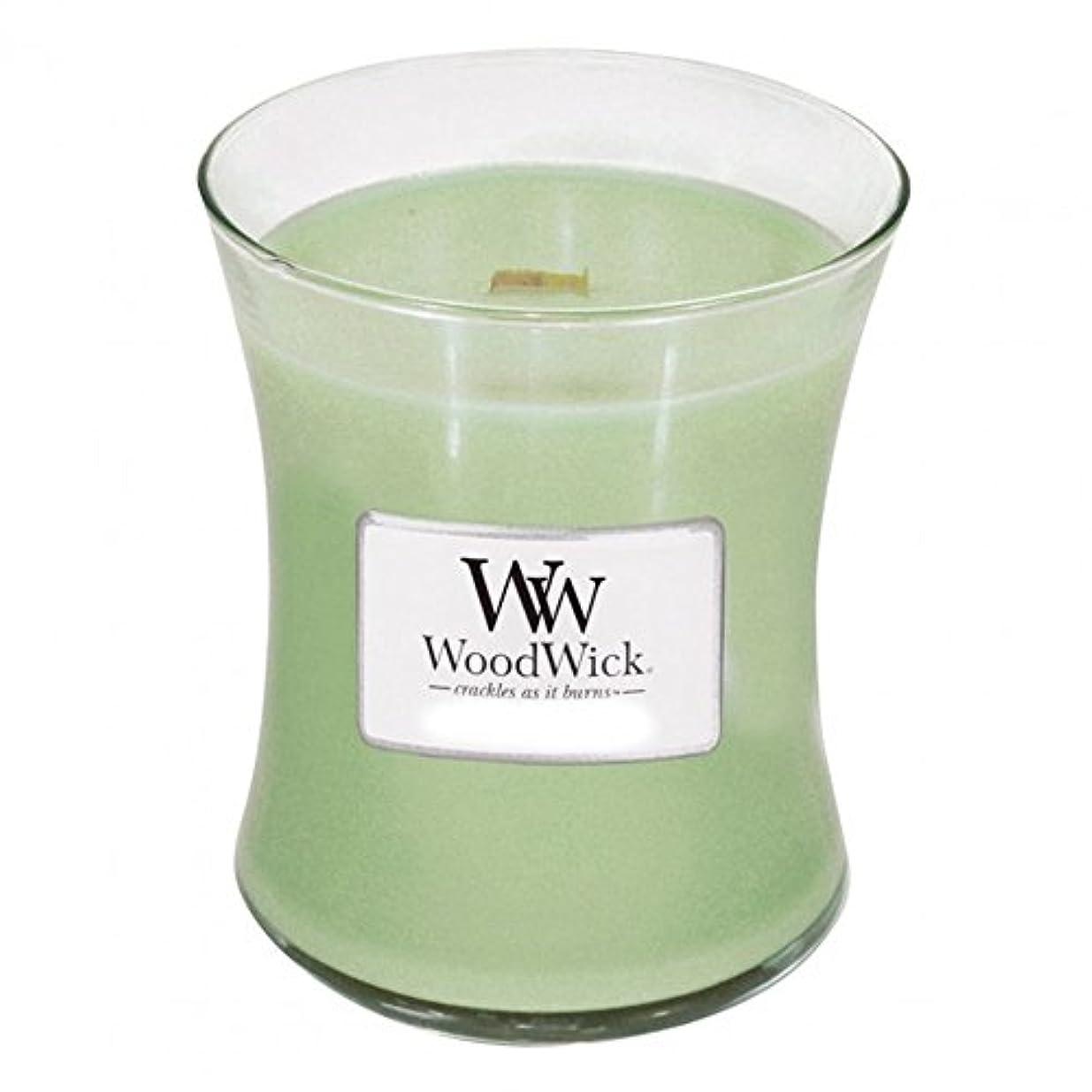 バス小人磁気(300ml, Green) - Woodwick Jar Candle (Medium) (Applewood)
